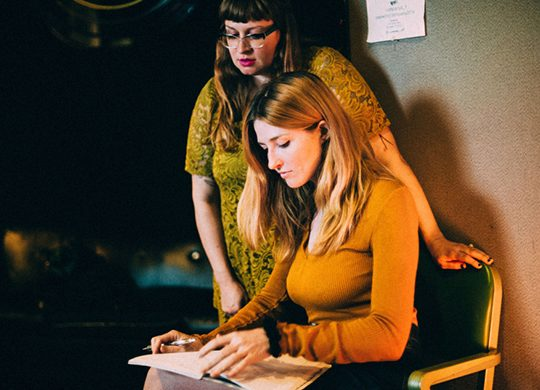 """Ali and Katy of Vivian Girls working on their upcoming record, """"We're Coming Out Swinging."""" Photo credit: Julia Brokaw*"""